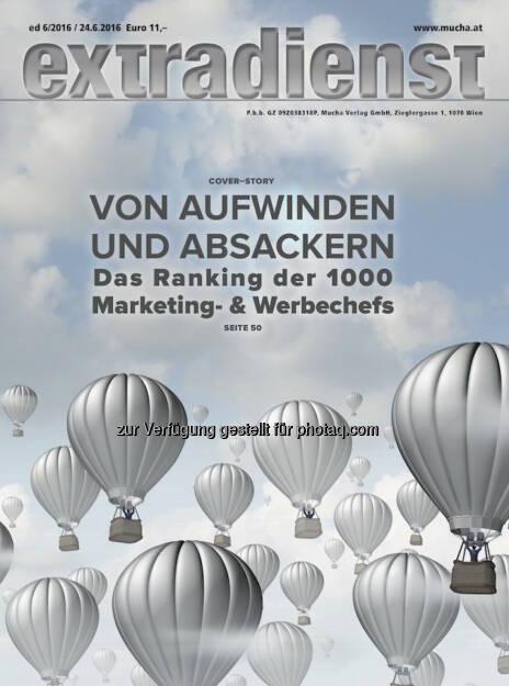Coverillustration ExtraDienst-Ausgabe : ExtraDienst 6/2016 : Das Ranking der Top 1000 Marketingleiter : Fotocredit: Mucha Verlag/Grafik Mucha Verlag (24.06.2016)