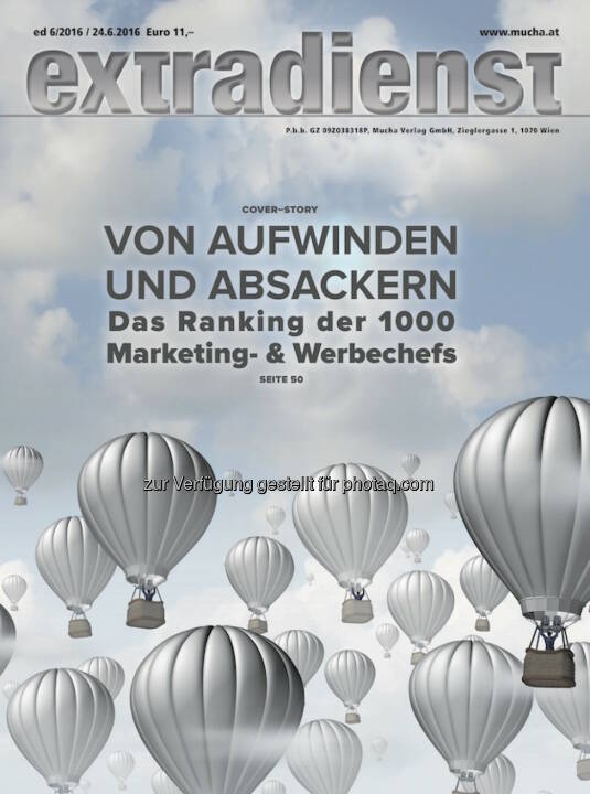 Coverillustration ExtraDienst-Ausgabe : ExtraDienst 6/2016 : Das Ranking der Top 1000 Marketingleiter : Fotocredit: Mucha Verlag/Grafik Mucha Verlag