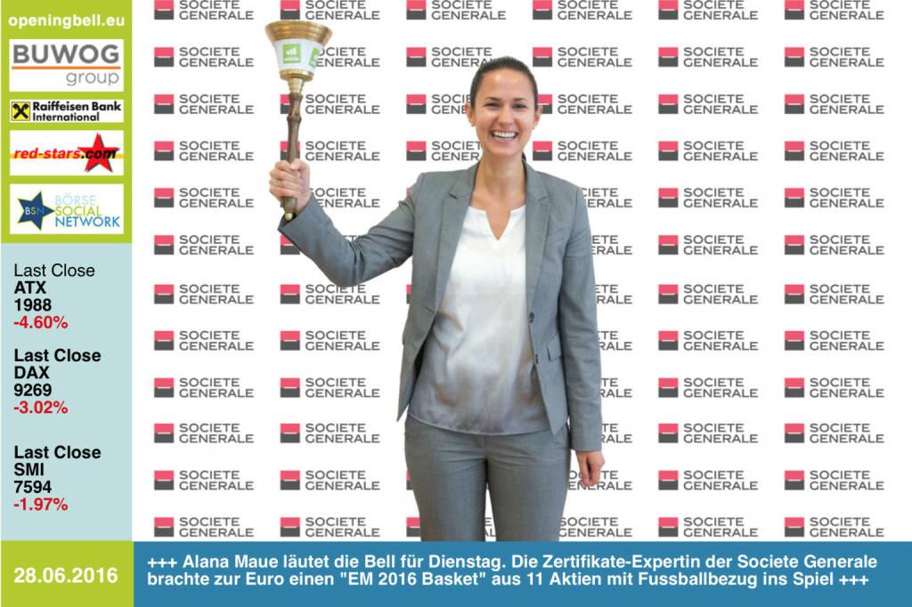 #openingbell am 28.6: Alana Maue läutet die Opening Bell für Dienstag. Die Zertifikate-Expertin der Societe Generale brachte zur Euro einen EM 2016 Basket aus 11 Aktien mit Fussballbezug ins Spiel http://www.sgcib.com http://www.openingbell.eu (28.06.2016)