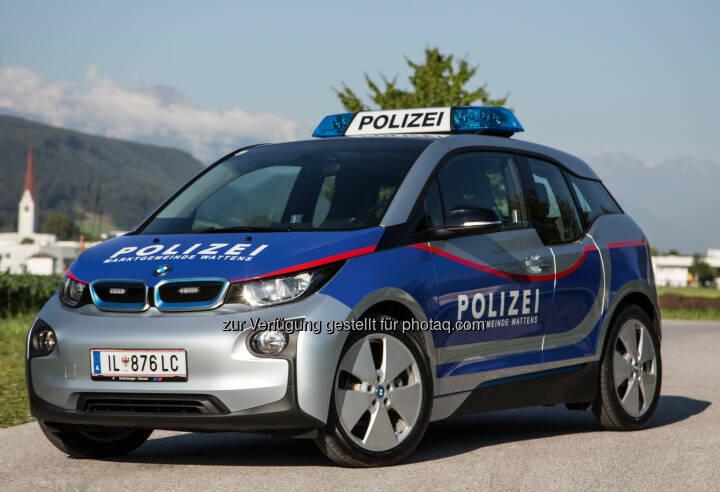 Elektrischer BMW i3 : Zum ersten Mal als Polizeifahrzeug in Österreich im Einsatz bei der Polizei der Marktgemeinde Wattens : Fotocredit: ©BMWGroup