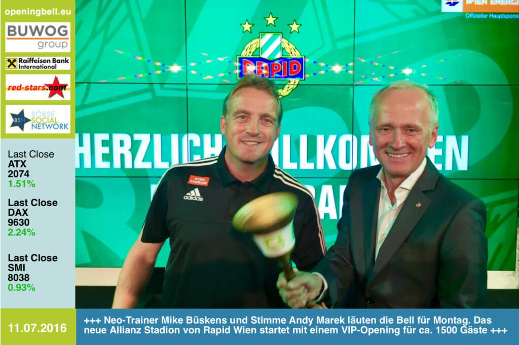 #openingbell am 11.7.: Neo-Trainer Mike Büskens und Stimme Andy Marek läuten die Opening Bell für Montag. Das neue Allianz Stadion von Rapid Wien startet mit einem VIP-Opening für ca. 1500 Gäste http://www.photaq.com/page/index/2618 http://www.openingbell.eu (11.07.2016)