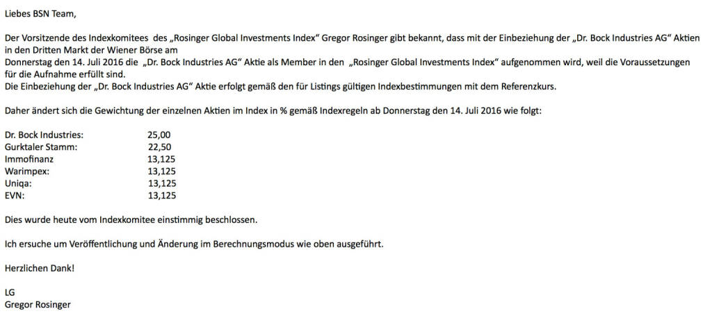Indexevent 12: Aufnahme Dr. Bock Industries per 13.7. zu Referenzkurs 9 Euro und Re-Allokation (13.07.2016)