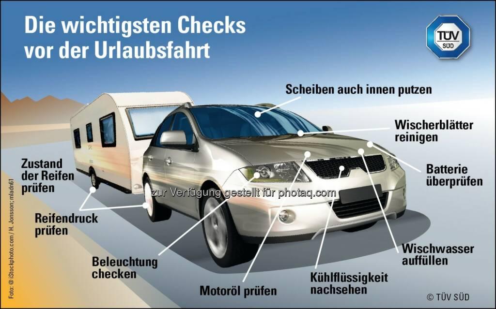 """Grafik """"Die wichtigsten Checks vor der Urlaubsfahrt"""" : Fotocredit: TÜV Süd, © Aussender (14.07.2016)"""
