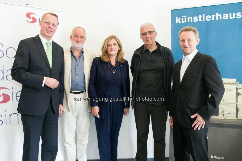 Friedrich Wachernig (Vorstand S Immo AG), Peter Zawrel (GF Künstlerhaus), Susanne Schaefer-Wiery (Bezirksvorsteherin 5. Wiener Gemeindebezirks), Michael Pilz (Präsident Künstlerhaus), Ernst Woller (Vorsitzender des Gemeinderatsausschusses für Kultur, Wissenschaft und Sport) : Künstlerhaus zieht nach Margareten : Fotocredit: Künstlerhaus/S Immo AG/APA-Fotoservice/Rastegar, © Aussendung (15.07.2016)