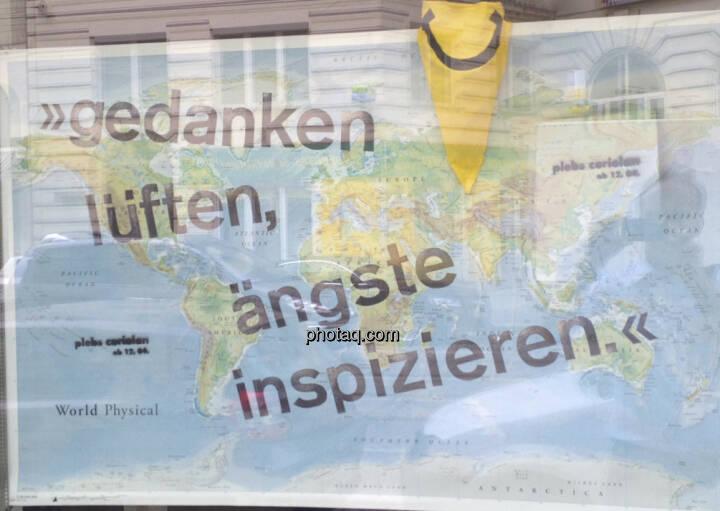 Weltkarte Gedanken lüften, Ängste inspizieren