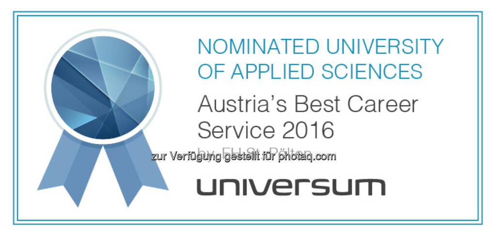 Universum Survey 2016 : 2. Platz für das Alumni und Career Center der FH St. Pölten bei Universum-Umfrage 2016 : Fotocredit: Universum Survey, © Aussendung (20.07.2016)