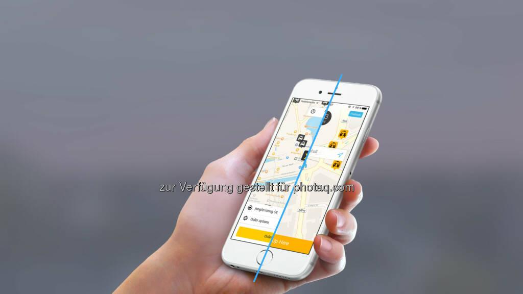 App mytaxi : mytaxi und Hailo schließen sich zum größten Appbasierten Taxivermittler Europas zusammen : Fotocredit: Intelligent Apps GmbH, © Aussendung (26.07.2016)