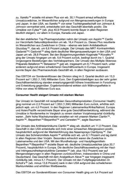 Bayer mit Umsatz- und Ergebnisplus, Seite 2/7, komplettes Dokument unter http://boerse-social.com/static/uploads/file_1498_bayer_mit_umsatz-_und_ergebnisplus.pdf (27.07.2016)
