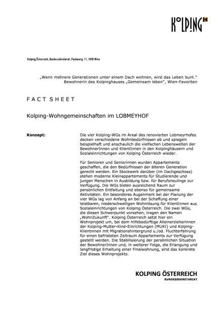 Kolping Österreich: Neues Wohnprojekt im Lobmeyrhof, Seite 1/4, komplettes Dokument unter http://boerse-social.com/static/uploads/file_1499_kolping_osterreich_neues_wohnprojekt_im_lobmeyrhof.pdf (27.07.2016)