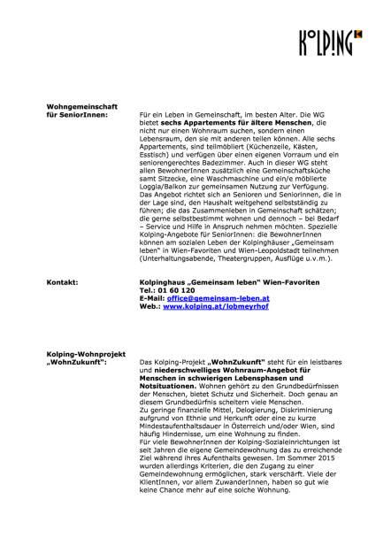 Kolping Österreich: Neues Wohnprojekt im Lobmeyrhof, Seite 3/4, komplettes Dokument unter http://boerse-social.com/static/uploads/file_1499_kolping_osterreich_neues_wohnprojekt_im_lobmeyrhof.pdf (27.07.2016)