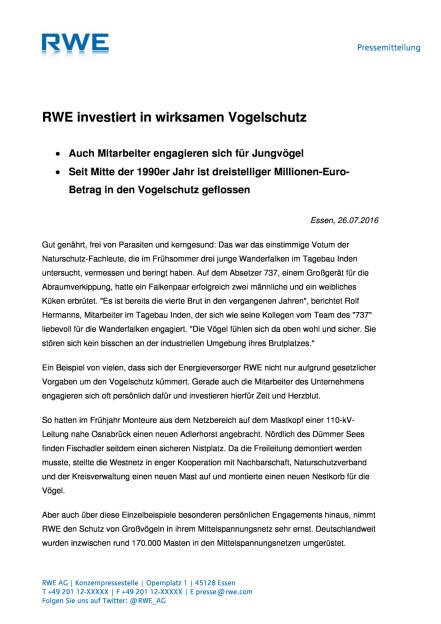 RWE investiert in wirksamen Vogelschutz , Seite 1/2, komplettes Dokument unter http://boerse-social.com/static/uploads/file_1501_rwe_investiert_in_wirksamen_vogelschutz.pdf (27.07.2016)