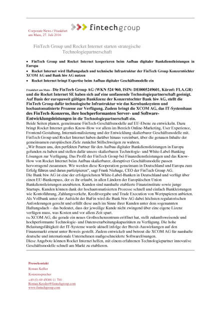 FinTech Group und Rocket Internet starten strategische Technologiepartnerschaft, Seite 1/2, komplettes Dokument unter http://boerse-social.com/static/uploads/file_1502_fintech_group_und_rocket_internet_starten_strategische_technologiepartnerschaft.pdf (27.07.2016)