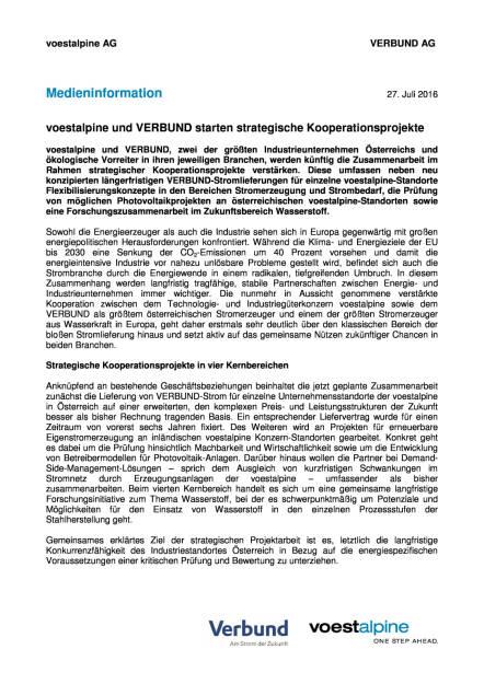voestalpine und Verbund starten strategische Kooperationsprojekte, Seite 1/3, komplettes Dokument unter http://boerse-social.com/static/uploads/file_1503_voestalpine_und_verbund_starten_strategische_kooperationsprojekte.pdf (27.07.2016)