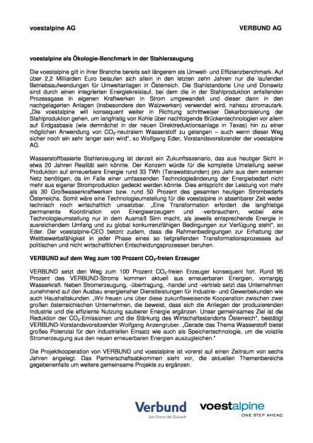 voestalpine und Verbund starten strategische Kooperationsprojekte, Seite 2/3, komplettes Dokument unter http://boerse-social.com/static/uploads/file_1503_voestalpine_und_verbund_starten_strategische_kooperationsprojekte.pdf (27.07.2016)