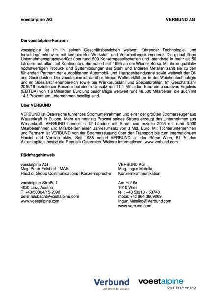 voestalpine und Verbund starten strategische Kooperationsprojekte, Seite 3/3, komplettes Dokument unter http://boerse-social.com/static/uploads/file_1503_voestalpine_und_verbund_starten_strategische_kooperationsprojekte.pdf (27.07.2016)