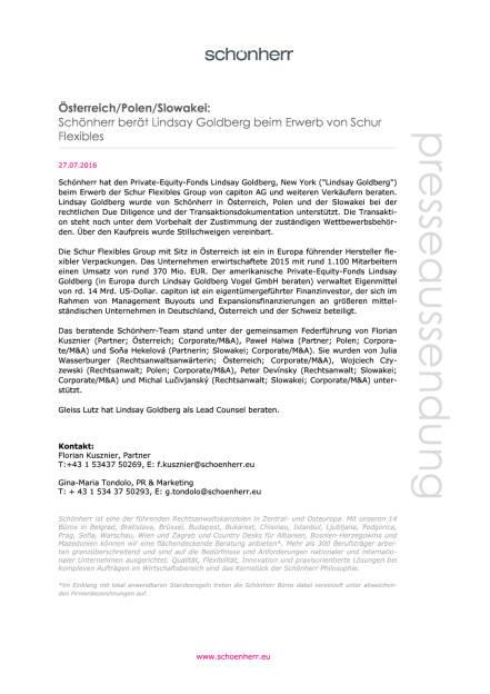 Schönherr berät Lindsay Goldberg beim Erwerb von Schur Flexibles, Seite 1/1, komplettes Dokument unter http://boerse-social.com/static/uploads/file_1505__schonherr_berat_lindsay_goldberg_beim_erwerb_von_schur_flexibles.pdf (27.07.2016)