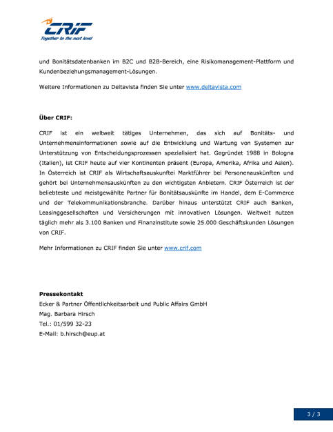 CRIF mit Übernahme von Deltavista Stärkung der Engagements in Deutschland und Polen, Seite 3/3, komplettes Dokument unter http://boerse-social.com/static/uploads/file_1507_crif_mit_ubernahme_von_deltavista_starkung_der_engagements_in_deutschland_und_polen.pdf (27.07.2016)