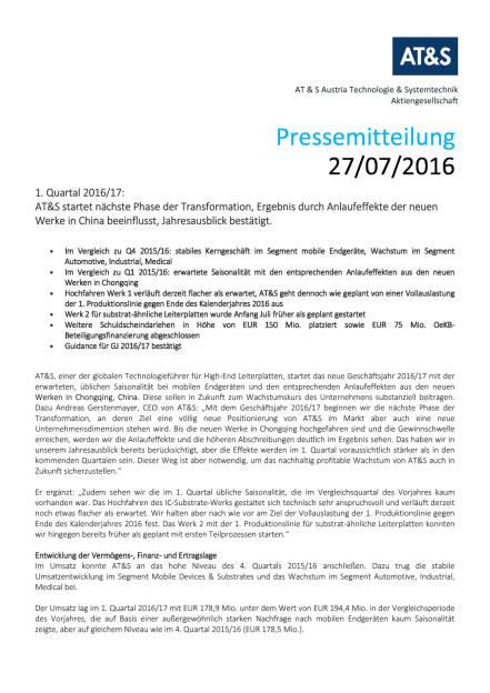 AT&S Presseinformation: Q1 2016/17, Seite 1/4, komplettes Dokument unter http://boerse-social.com/static/uploads/file_1506_ats_presseinformation_q1_201617.pdf (27.07.2016)