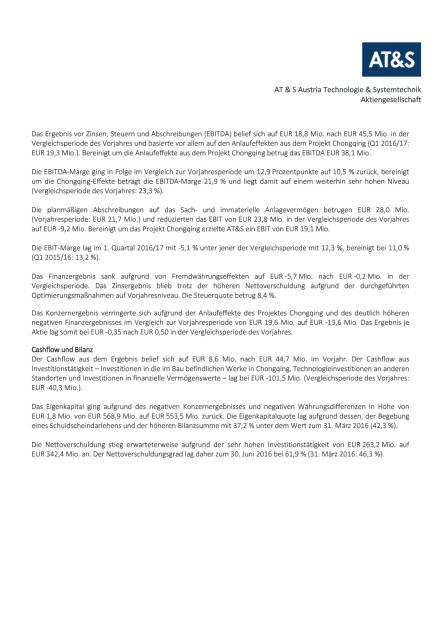 AT&S Presseinformation: Q1 2016/17, Seite 2/4, komplettes Dokument unter http://boerse-social.com/static/uploads/file_1506_ats_presseinformation_q1_201617.pdf (27.07.2016)