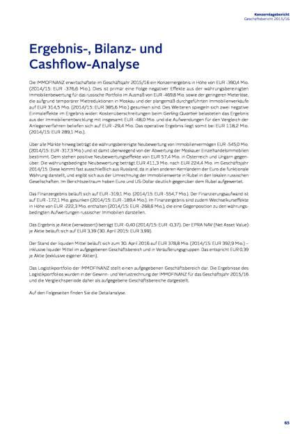 Immofinanz: Ergebnis-, Bilanz- und Cashflow-Analyse, Seite 1/6, komplettes Dokument unter http://boerse-social.com/static/uploads/file_1508_immofinanz_ergebnis-_bilanz-_und_cashflow-analyse.pdf (27.07.2016)