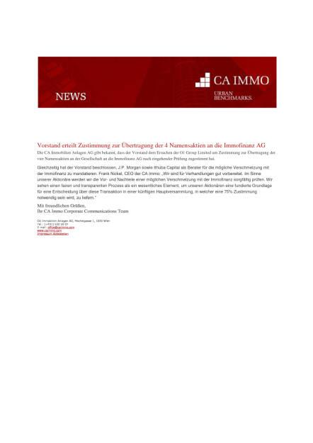 CA Immo: Vorstand erteilt Zustimmung zur Übertragung der 4 Namensaktien an Immofinanz, Seite 1/1, komplettes Dokument unter http://boerse-social.com/static/uploads/file_1511_ca_immo_vorstand_erteilt_zustimmung_zur_ubertragung_der_4_namensaktien_an_immofinanz.pdf (27.07.2016)