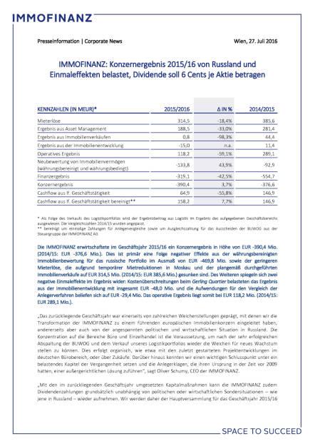 Immofinanz: Konzernergebnis 2015/16 von Russland und Einmaleffekten belastet, Seite 1/4, komplettes Dokument unter http://boerse-social.com/static/uploads/file_1509_immofinanz_konzernergebnis_201516_von_russland_und_einmaleffekten_belastet.pdf (27.07.2016)