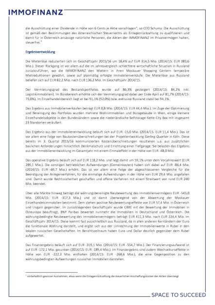 Immofinanz: Konzernergebnis 2015/16 von Russland und Einmaleffekten belastet, Seite 2/4, komplettes Dokument unter http://boerse-social.com/static/uploads/file_1509_immofinanz_konzernergebnis_201516_von_russland_und_einmaleffekten_belastet.pdf (27.07.2016)