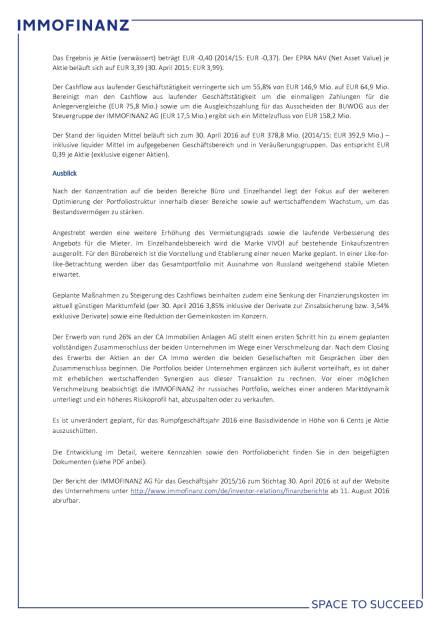 Immofinanz: Konzernergebnis 2015/16 von Russland und Einmaleffekten belastet, Seite 3/4, komplettes Dokument unter http://boerse-social.com/static/uploads/file_1509_immofinanz_konzernergebnis_201516_von_russland_und_einmaleffekten_belastet.pdf (27.07.2016)