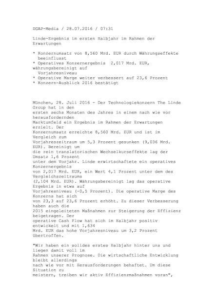 Linde Halbjahresergebnis, Seite 1/6, komplettes Dokument unter http://boerse-social.com/static/uploads/file_1513_linde_halbjahresergebnis.pdf (28.07.2016)