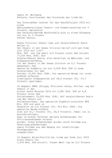 Linde Halbjahresergebnis, Seite 2/6, komplettes Dokument unter http://boerse-social.com/static/uploads/file_1513_linde_halbjahresergebnis.pdf (28.07.2016)