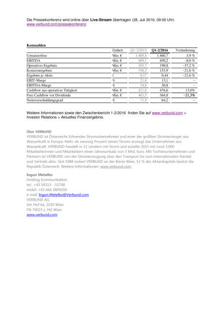 Verbund Ergebnis Quartale 1-2/2016, Seite 2/2, komplettes Dokument unter http://boerse-social.com/static/uploads/file_1514_verbund_ergebnis_quartale_1-22016.pdf (28.07.2016)