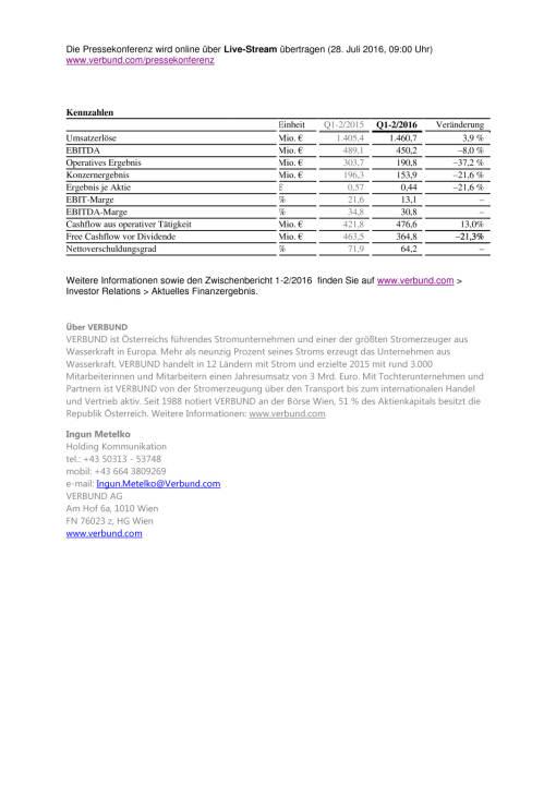 Verbund Ergebnis Quartale 1-2/2016, Seite 2/2, komplettes Dokument unter http://boerse-social.com/static/uploads/file_1514_verbund_ergebnis_quartale_1-22016.pdf