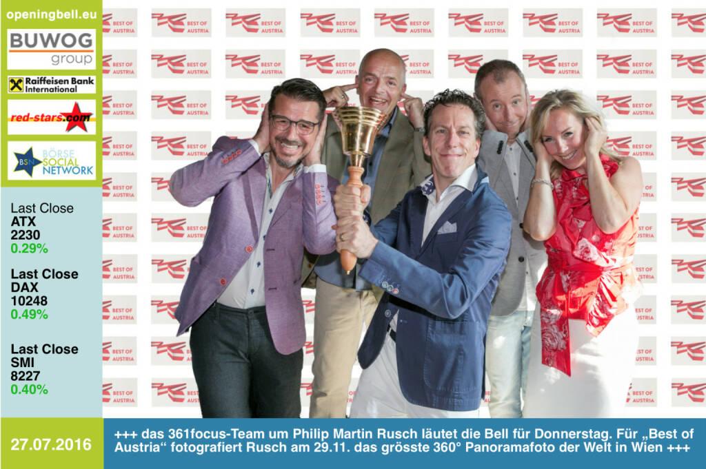 """#openingbell am 28.7.: das 361focus-Team Roman Sindelar, Alex Vogel, Mastermind Philip Rusch, Claus Westermayer und Ulrike Mülleder läutet die Bell für Donnerstag. Für """"Best of Austria"""" fotografiert Rusch am 29.11. das grösste 360° Panoramafoto der Welt in Wien. Weitere Bilder: http://www.photaq.com/page/index/2645 http://www.361focus.com http://www.krone.at/digital/best-of-austria-panorama-mit-10000-menschen-gigapixel-portraet-story-521861 - mit dem BSN sind wir Partner (28.07.2016)"""