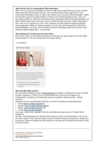 ING-DiBa startet mit Smart-Code, Seite 2/2, komplettes Dokument unter http://boerse-social.com/static/uploads/file_1518_ing-diba_startet_mit_smart-code.pdf (28.07.2016)