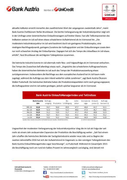 Bank Austria: Österreichs Industrie von Brexit-Entscheidung unbeeindruckt, Seite 2/4, komplettes Dokument unter http://boerse-social.com/static/uploads/file_1517_bank_austria_osterreichs_industrie_von_brexit-entscheidung_unbeeindruckt.pdf (28.07.2016)
