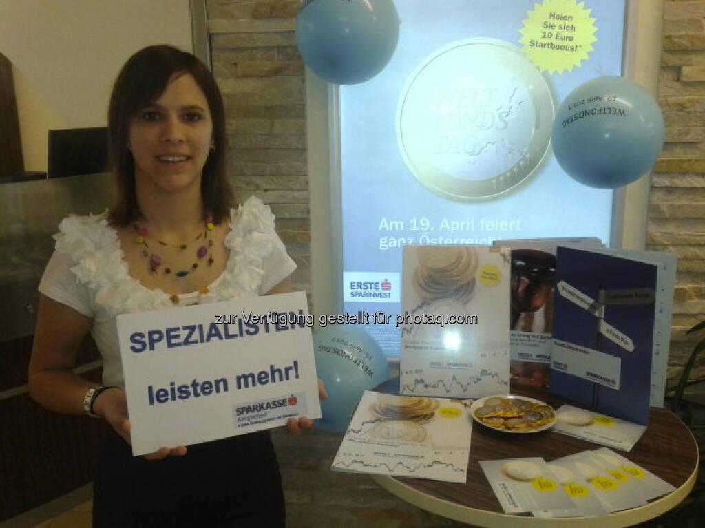 Weltfondstag: Foto der Sparkasse der Stadt Amstetten, Spezialisten leisten mehr, © (div. Sparkassen) (23.04.2013)