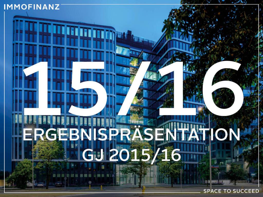 Immofinanz: Ergebnispräsentation GJ 2015/2016, Seite 1/24, komplettes Dokument unter http://boerse-social.com/static/uploads/file_1521_immofinanz_ergebnisprasentation_gj_20152016.pdf (28.07.2016)