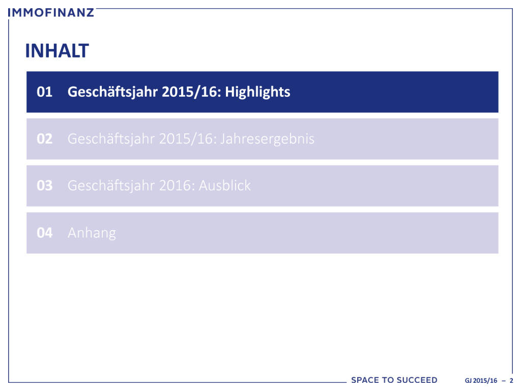 Immofinanz: Ergebnispräsentation GJ 2015/2016, Seite 2/24, komplettes Dokument unter http://boerse-social.com/static/uploads/file_1521_immofinanz_ergebnisprasentation_gj_20152016.pdf (28.07.2016)