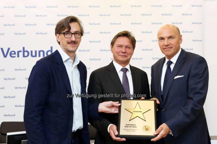 Josef Chladek (BSN), Wolfgang Anzengruber (CEO Verbund), Peter F. Kollmann (Finanzvorstand Verbund)