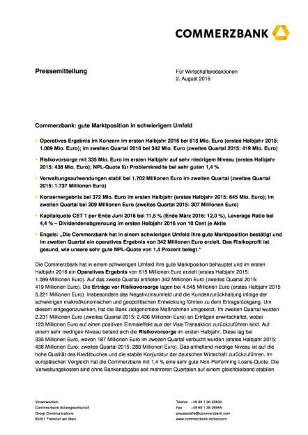 Commerzbank: gute Marktposition in schwierigem Umfeld, Seite 1/8, komplettes Dokument unter http://boerse-social.com/static/uploads/file_1539_commerzbank_gute_marktposition_in_schwierigem_umfeld.pdf (02.08.2016)