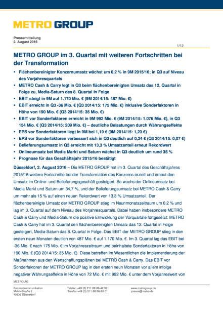 Metro Group: Im 3. Quartal Fortschritte bei der Transformation, Seite 1/12, komplettes Dokument unter http://boerse-social.com/static/uploads/file_1542_metro_group_im_3_quartal_fortschritte_bei_der_transformation.pdf (02.08.2016)