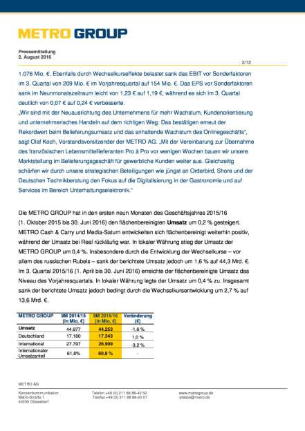 Metro Group: Im 3. Quartal Fortschritte bei der Transformation, Seite 2/12, komplettes Dokument unter http://boerse-social.com/static/uploads/file_1542_metro_group_im_3_quartal_fortschritte_bei_der_transformation.pdf (02.08.2016)