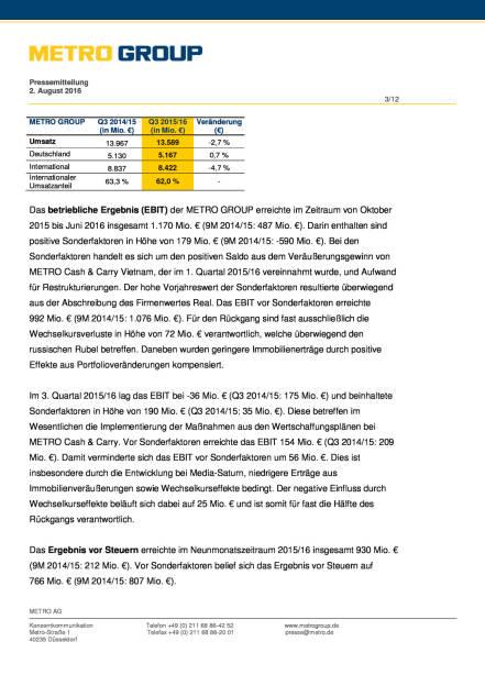 Metro Group: Im 3. Quartal Fortschritte bei der Transformation, Seite 3/12, komplettes Dokument unter http://boerse-social.com/static/uploads/file_1542_metro_group_im_3_quartal_fortschritte_bei_der_transformation.pdf (02.08.2016)