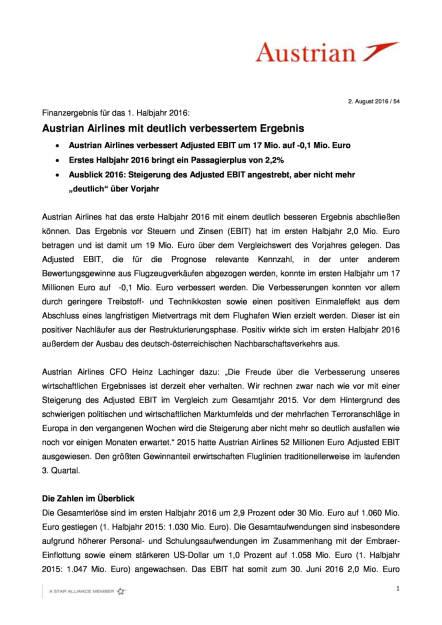 Austrian Airlines: Finanzergebnis 1. Halbjahr 2016, Seite 1/4, komplettes Dokument unter http://boerse-social.com/static/uploads/file_1543_austrian_airlines_finanzergebnis_1_halbjahr_2016.pdf (02.08.2016)