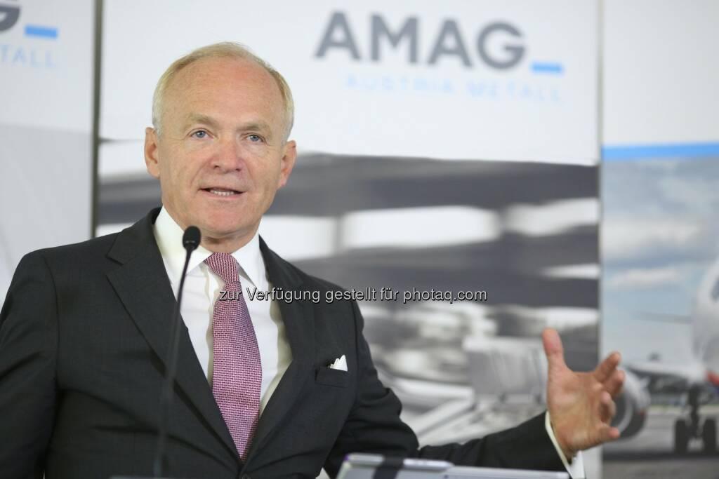Helmut Wieser, Vorstandsvorsitzender der AMAG Austria Metall AG : AMAG Austria Metall AG im 1. Halbjahr 2016 : Rekordabsatz und deutliche Ergebnissteigerung : Fotocredit: AMAG Austria Metall AG/APA-Fotoservice/Schedl, © Aussender (02.08.2016)