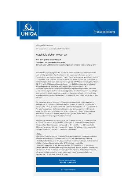 Uniqa: Autokäufe ziehen wieder an, Seite 1/2, komplettes Dokument unter http://boerse-social.com/static/uploads/file_1547_uniqa_autokaufe_ziehen_wieder_an.pdf (02.08.2016)