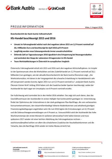 Bank Austria: Kfz-Handel beschleunigt 2015 und 2016, Seite 1/3, komplettes Dokument unter http://boerse-social.com/static/uploads/file_1548_bank_austria_kfz-handel_beschleunigt_2015_und_2016.pdf (02.08.2016)