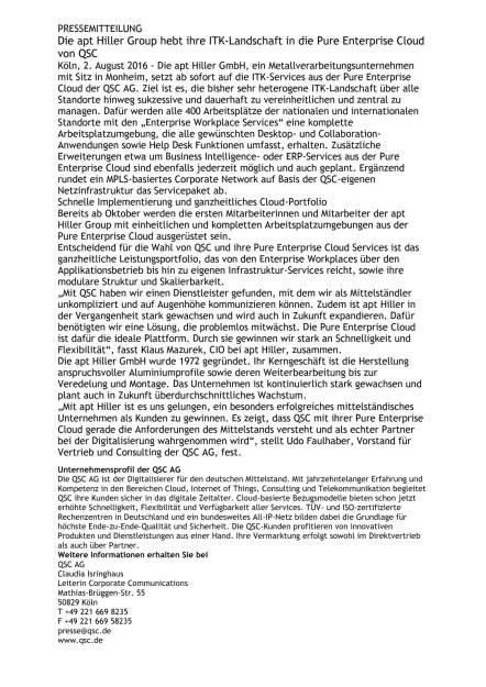 QSC: apt Hiller Group hebt ihre ITK-Landschaft in die Pure Enterprise Cloud, Seite 1/1, komplettes Dokument unter http://boerse-social.com/static/uploads/file_1551_qsc_apt_hiller_group_hebt_ihre_itk-landschaft_in_die_pure_enterprise_cloud.pdf (02.08.2016)