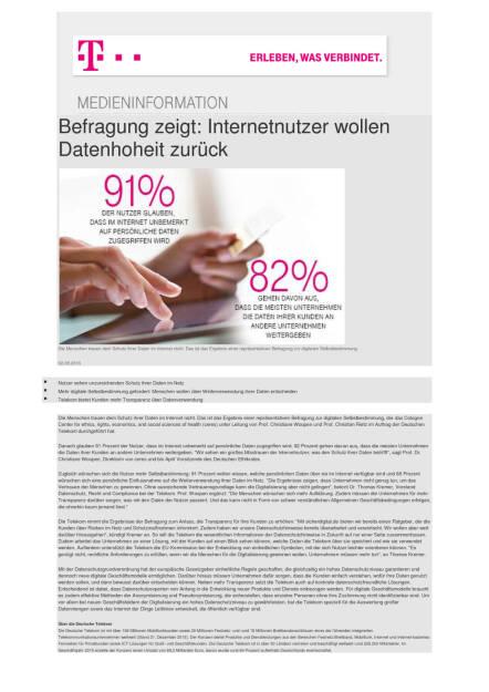 Deutsche Telekom: Internetnutzer wollen Datenhoheit zurück, Seite 1/1, komplettes Dokument unter http://boerse-social.com/static/uploads/file_1550_deutsche_telekom_internetnutzer_wollen_datenhoheit_zuruck.pdf (02.08.2016)