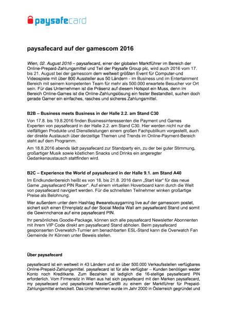 paysafecard auf der gamescom 2016, Seite 1/2, komplettes Dokument unter http://boerse-social.com/static/uploads/file_1552_paysafecard_auf_der_gamescom_2016.pdf (02.08.2016)